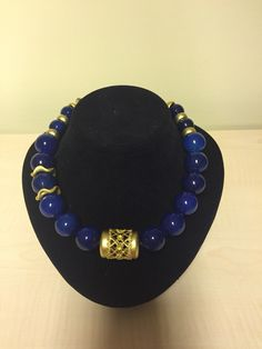 Navy blue agate necklace