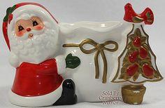 Vintage Napco Napcoware Japan Christmas Santa Claus & Tree Candle Holder PG221