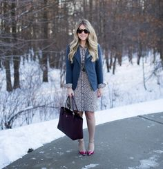grey blazer spotted dress work outfit