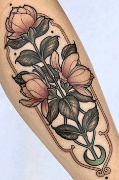A collection of floral tattoo inspiration for men and women; from small tattoos to ornamental black and grey designs, there's something here for everyone! Art Nouveau Tattoo, Tatuagem Art Nouveau, Botanisches Tattoo, Leg Tattoos, Flower Tattoos, Small Tattoos, Tattoo Floral, Flower Tattoo On Hand, Tattoo Ideas Flower