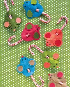 Candy Cane Mice - for Mini-Winterfest.  Maybe cut out the felt pieces beforehand and have girls assemble?  Or try with cardstock and make girls cut them out?