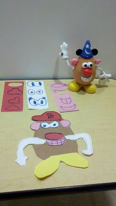 Have child build a potatoe head, then recreate it from paper. Great way to work on cutting skills, perceptual abilities, and body scheme.