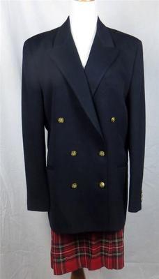 Brooks Brothers Suit Blazer Skirt Size 14 Navy Jacket Red Tartan Skirt | eBay