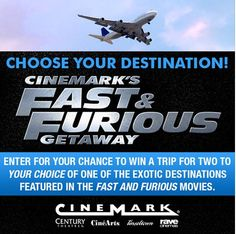 Americans! Win Trip to Tokyo with Cinemark's Fast and Furious Getaway Sweepstakes - http://www.japanesesearch.com/events/americans-win-trip-to-tokyo-with-cinemarks-fast-and-furious-getaway-sweepstakes/ Americans! Win Trip for two to Tokyo with Cinemark's Fast and Furious Getaway Sweepstakes! To celebrate the release of Fast and Furious 7 on Apr 3/15, you can enter to win a trip to one of the locations featured in the Fast and Furious movies, but we love Japan and we th