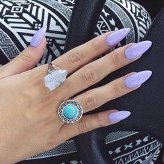 stiletto lavender colored nails