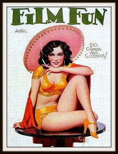 "Vintage Film Fun ""Mexican Girl"" Magazine Cover  by Enoch Bolles - Circa 1930 - Giclee Print"
