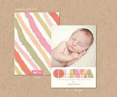 Transparent Name Photo Birth Announcement 25 Cards | Modern Stylish Simple Printed Baby Girl Announcement Card | Colorful Typography Bold Minimal by fatfatin