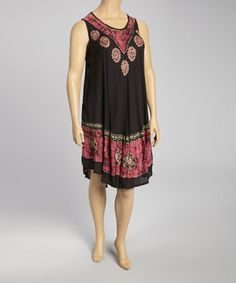Loving this Black & Fuchsia Tie-Dye Sleeveless Dress - Plus on #zulily! #zulilyfinds