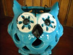 """primitive blue owl decoration decor candle holder fall autumn tea lightin my store The Chic N Prim cottage ebay have to put in the """"the """" in search engine $16"""