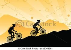 Vector - Mountain bikers - stock illustration, royalty free illustrations, stock clip art icon, stock clipart icons, logo, line art, EPS picture, pictures, graphic, graphics, drawing, drawings, vector image, artwork, EPS vector art