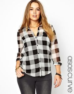 Image 1 of ASOS CURVE Exclusive Shirt In Tartan Check