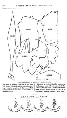 PATTERN! 1855-1857 patterns from Greenberg: Godey's Lady's Book: Fashion: Practical Dress Instructor.