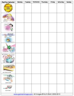 reward chart, good one for toddlers as they are pictures instead of words.