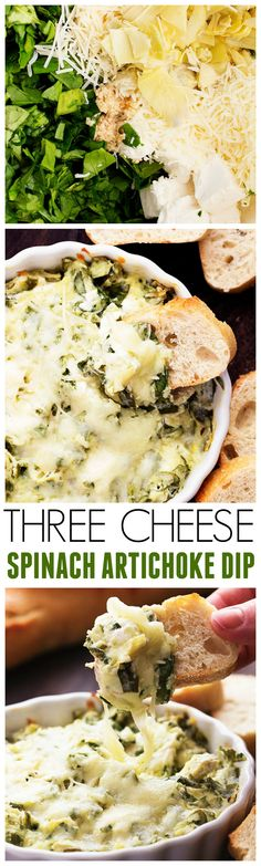 This Three Cheese Artichoke Dip is loaded with a three cheese blend ...