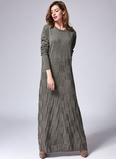 Cotton Solid Long Sleeve Maxi Casual Dresses