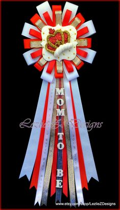 Royal Red Prince Crown Boy Baby Shower Corsage Mommy to Be King Theme Pin -Mom to Be Clay Favor Badge -Gold White Personalized Ribbon Capia by LezlieZDesigns