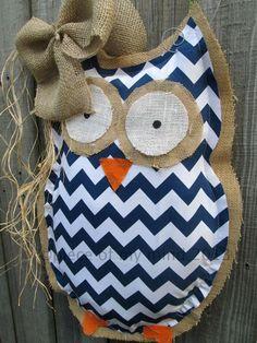Owl Burlap Door Hanger Door Decoration Mixed Media by ...