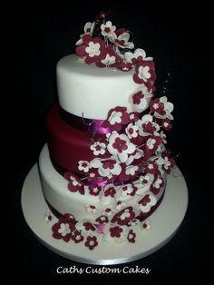 Burgundy And Ivory Flowers Wedding Cake Top Bottom Made With Vanilla Raspberry