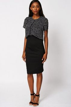 Black Scuba Dress with Chiffon Spotted Over Lay �19.99