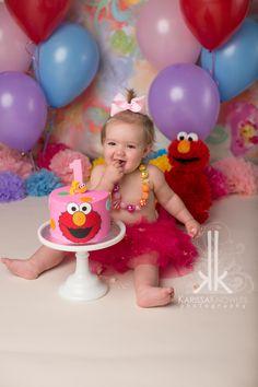 Elmo Cake Smash, Elmo first birthday, Girl Cake Smash ideas, colorful cake smash, Elmo, First Birthday  www.facebook.com/karissaknowlesphotography www.karissaknowlesphotography.com