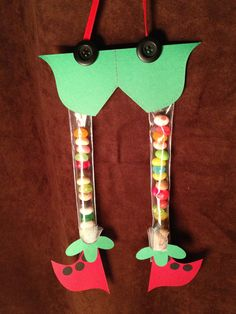 Fun little elf legs filled with jelly beans.  Kids and adults will love them.