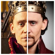 The Hollow Crown. Tom Hiddleston as Henry V.  In Henry IV Part 2 (left) and in Henry V (right).