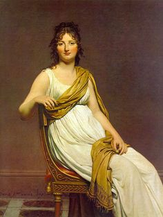 Portrait of Madame de Verninac, 1799, Jacques-Louis David. The dress, chair, stance, hair and shawl are deeply inspired by the iconography of the Roman matrone.