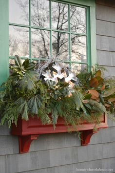 Potting Shed Window Boxes decorated for Winter | homeiswheretheboatis.net