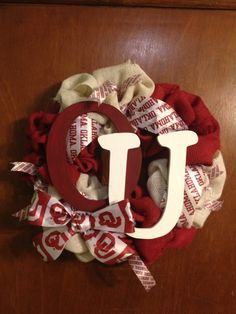 OU Sooners red and white burlap wreath