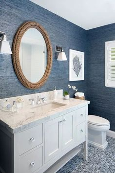 Bathroom Decor blue Rope Decor: 10 Cottage Decorating Ideas - rope mirror - gorgeous coastal style bathroom with navy wallpaper Beach House Bathroom, Beach Bathrooms, Beach House Decor, Navy Bathroom, Small Bathroom, Bathroom Interior, Blue Bathrooms, Beach Style Bedroom Decor, Mirror In Bathroom
