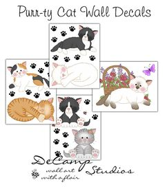 Cat Wall Decals for baby girl nursery or children's kitten kitty room decor #decampstudios
