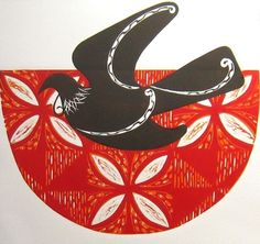 "Linocut print ""A Songbird Soars"" by NZ Printmaker Susan Haywood Smith"