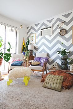 A quirky Melbourne home has an equally quirky footstool.