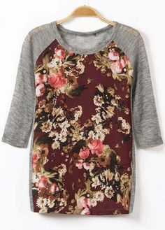 Casual Style Half Sleeve Floral Printed T Shirt