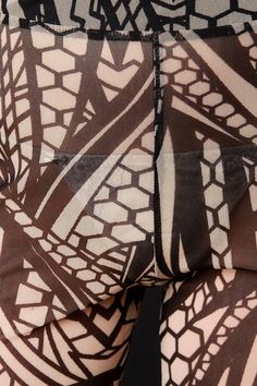 Multipattern Print Semi-Sheer Mesh Pants