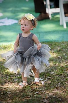 Grey flower girl tutu with a yellow satin bow in by TelfairTutus, $25.00