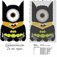 Minion Batman - Despicable Me free pattern (63x99)