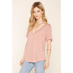 Love 21 Women's  Contemporary Slub Knit V-Neck Tee ($11) ❤ liked on Polyvore featuring tops, t-shirts, knit t shirt, v neck knit top, pink tops, v-neck top and knit top