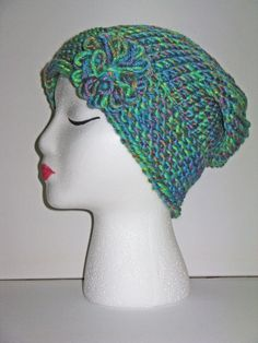 Adult Size Seaweed Knit Hat w/ Floral by ToOurMoonAndBack on Etsy, $25.00