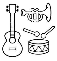 kleurplaat muziekinstrumenten