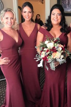 Burgundy Bridesmaid Dresses, Bridesmaids, Beetlejuice Wedding, Wedding Dresses 2018, Beautiful Prom Dresses, Graduation Dresses, Formal Gowns, Wedding Bells, Different Styles