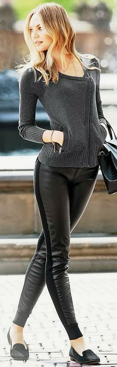 Faux leather front leggings and zip-up fitted cardigan