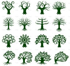 Green Tree Collection royalty free vector icon set stock vector art 17991666 - iStock
