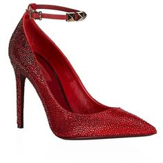 Valentino Rouge Absolute Sig 100 Diamanté Pump (45.859.360 VND) ❤ liked on Polyvore featuring shoes, pumps, heels, stiletto heel pumps, valentino shoes, pointy toe stiletto pumps, ankle strap pumps and valentino pumps