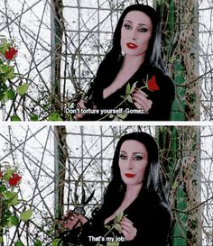 These movies have a PG rating, so the full extent of their kinkiness will never be known. PSA: Morticia And Gomez Addams Are Literally The Perfect Couple Filmstar Party, Movies Showing, Movies And Tv Shows, Addams Family Quotes, Los Addams, Morticia And Gomez Addams, Witch Quotes, Carolyn Jones, Anjelica Huston