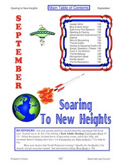 Soaring to New Heights ~ Great Salt Lake Council - Cub Scout Monthly Themes - PowWow Books - Pack Meeting Plans - Space Derby Ideas - Pre-Openers, Flag Ceremonies, Cubmaster Minute, Games, Skits, Crafts, Songs, Cheers, Run-Ons, Food - Akela's Council Cub Scout Leader Training