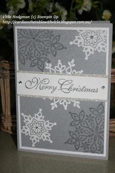 christmas stampa stack 2013 003 -  Vicki Hodgman, Festive Flurry stamp set and framelits. White Emboss Powder, Silver Emboss Powder, Smoky Slate Ink. Smoky Slate, whisper white, brushed silver, silver glimmer card.