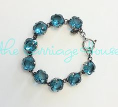 Catherine Popesco - Large Stone Crystal Bracelet - Teal and Silver