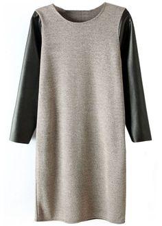 Vestido combinado manga polipiel-Gris&Negro EUR€21.82