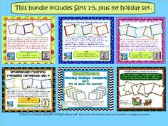 SMARTBoard Morning Message Template Bundle...all 6 of my template sets at a great price, so you can make all of your SMARTBoard files look polished, pulled together, and cute! Blog post about how I use morning message in 4th grade and link to the bundle.